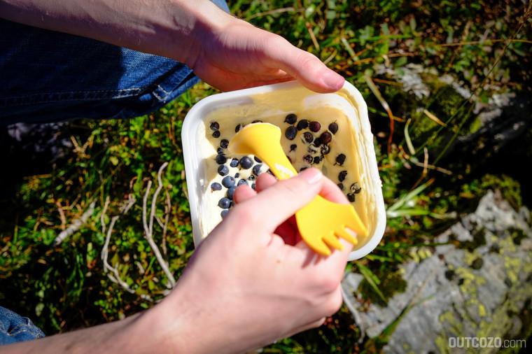 Pfannkuchenmischung mit Blaubeeren