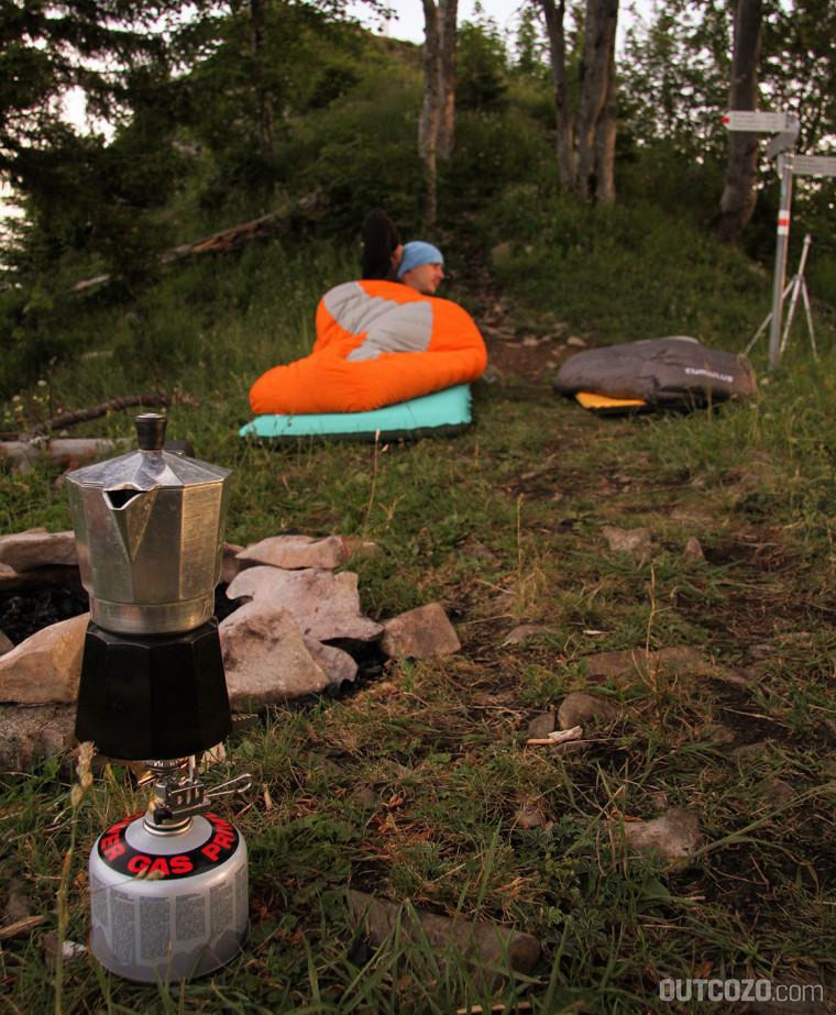 Kaffeekochen outdoor im Biwak