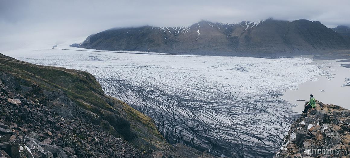 Aussichtspunkt Sjonarnipa mit Gletscher Vatnajoekull