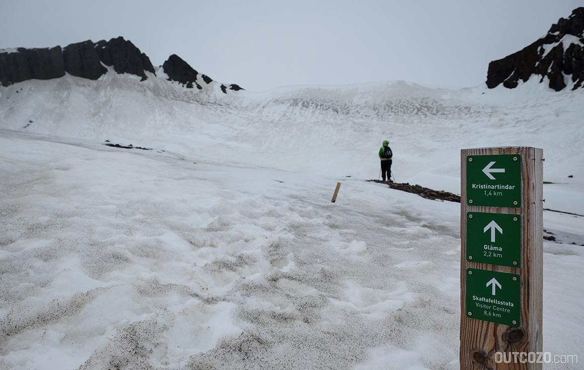 Kristinartindar unter Eis und Schnee