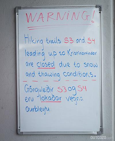 Kristinartindar - Wanderwege S3 und S4 geschlossen