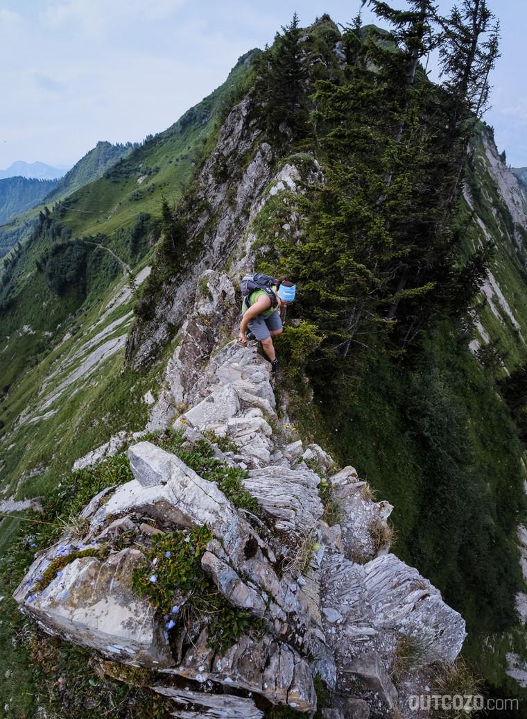 Löffelspitze ausgesetzte Kletterstelle