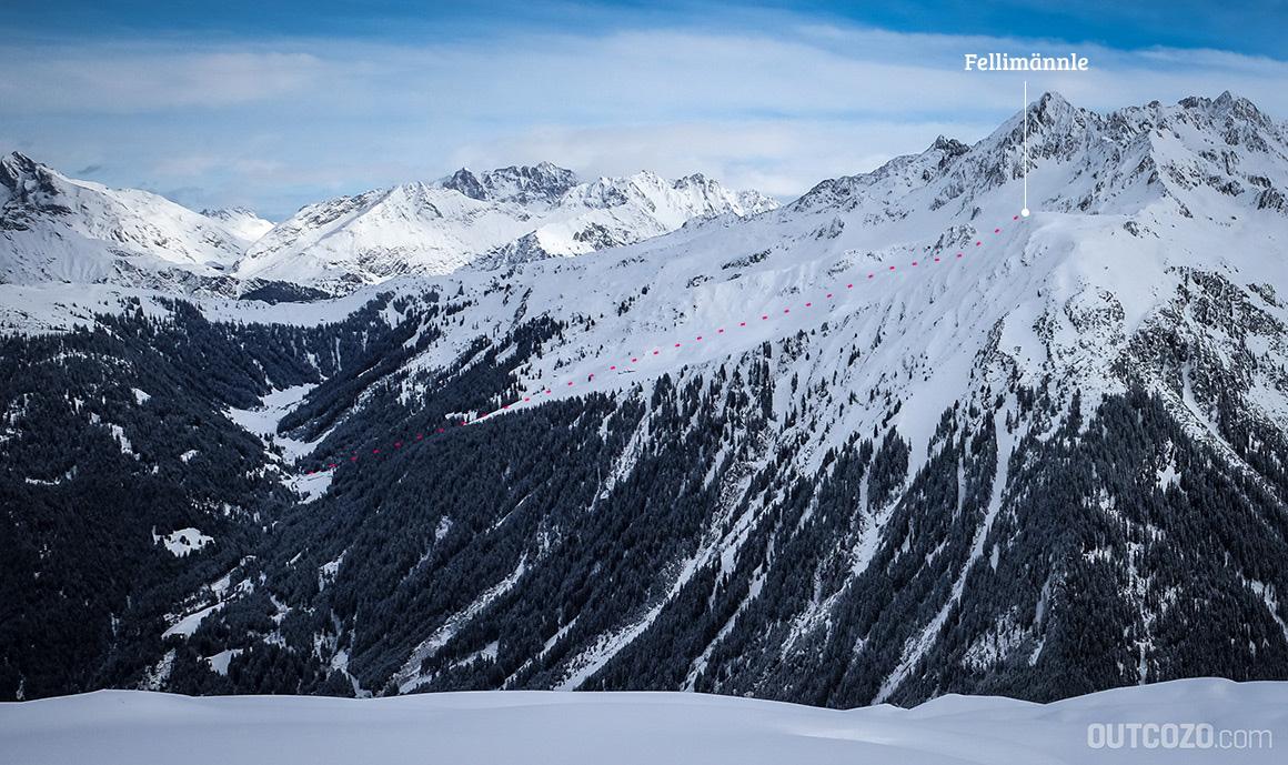Fellimännle Gipfel und Abfahrtshang Übersicht