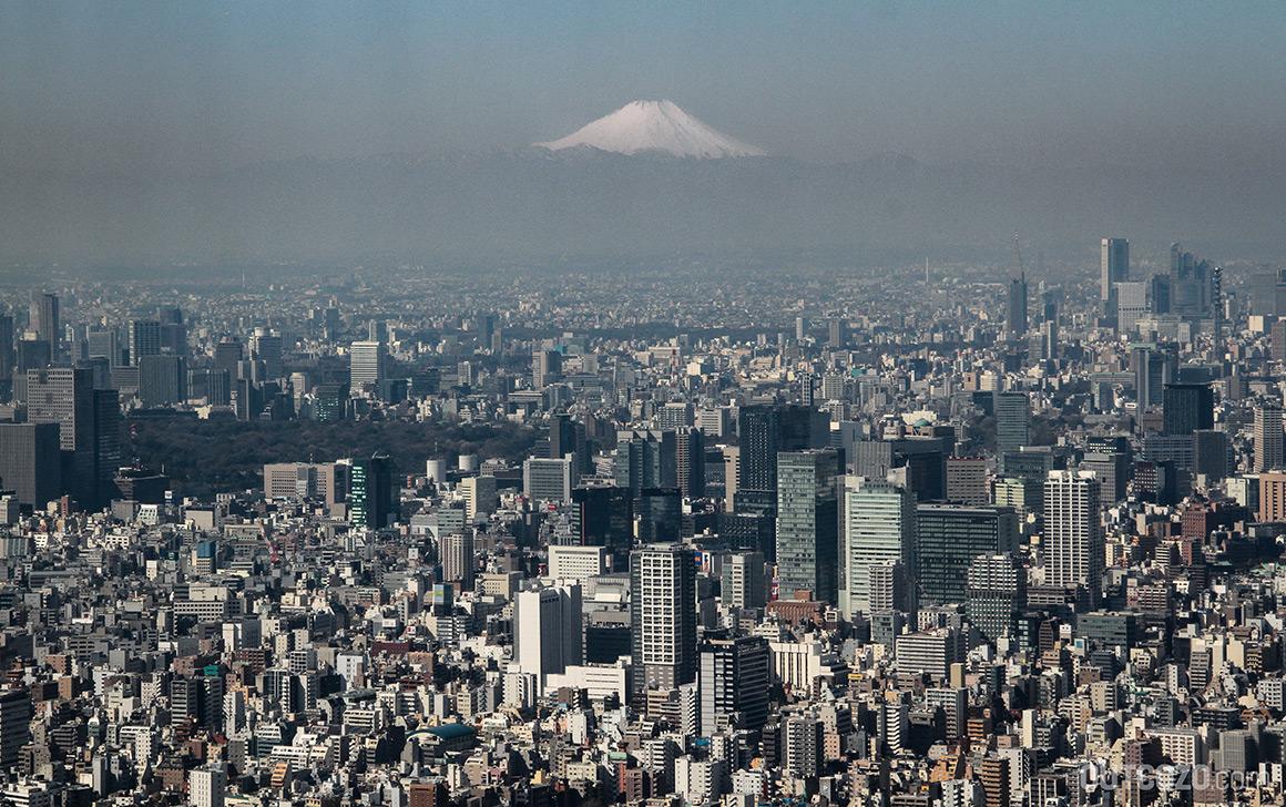 Sicht auf Fuji von Tokyo