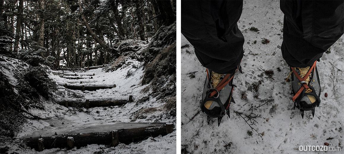 Eisiger Winterweg zum Fuji und Steigeisen