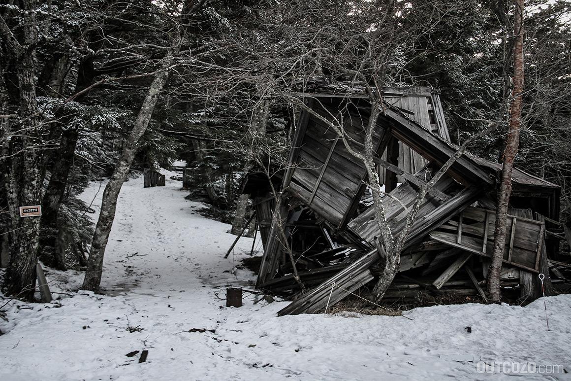 fuji verfallene schutzhütte