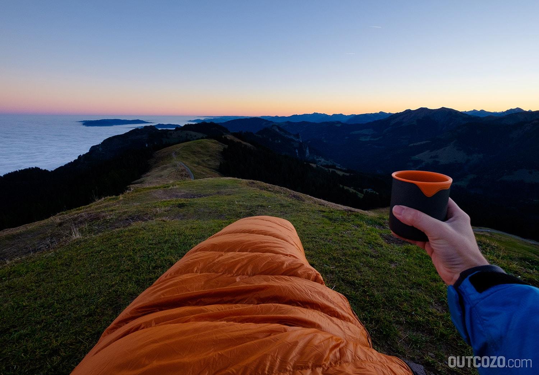 Kaffee im Schlafsack