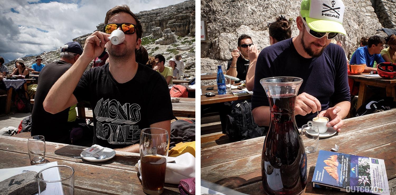 Büllelejochhütte Espresso und Wein