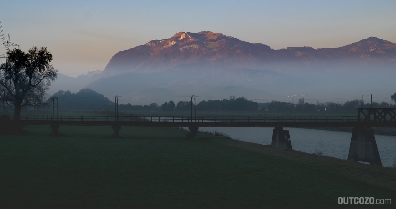 Alpenglühen Hoher Kasten Rheintal