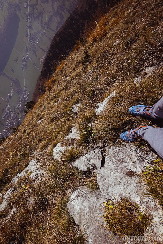 Im Steilhang Plofora zum Hohen Kasten