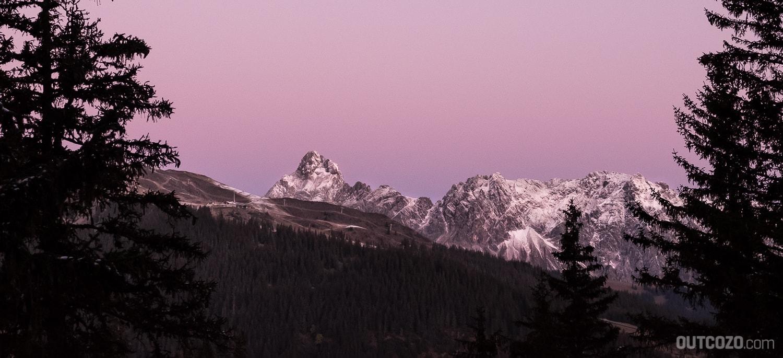 Zimba bei Sonnenaufgang, Schneekanonen am Golm