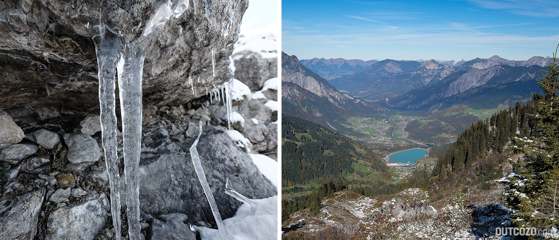 Kontrastprogramm: Herbst im Tal, eisiger Winter am Berg