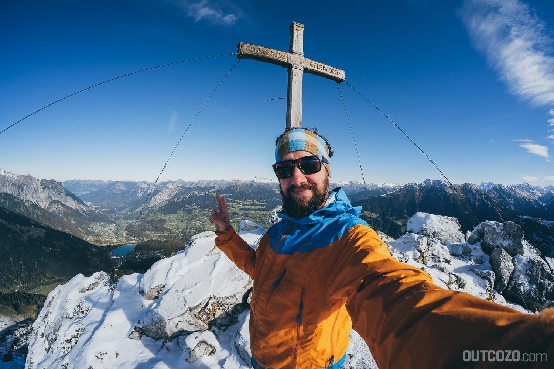 Tschaggunser Mittagspitze Gipfelkreuz Selfie
