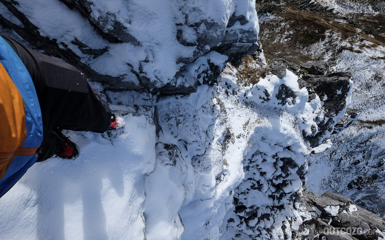 Tschaggunser Mittagspitze ungesicherter Abstieg durch Felskamin
