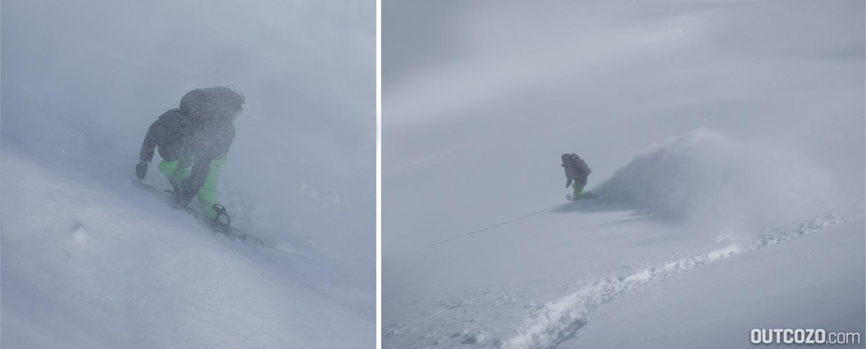Tiefschneefahren im Schneesturm