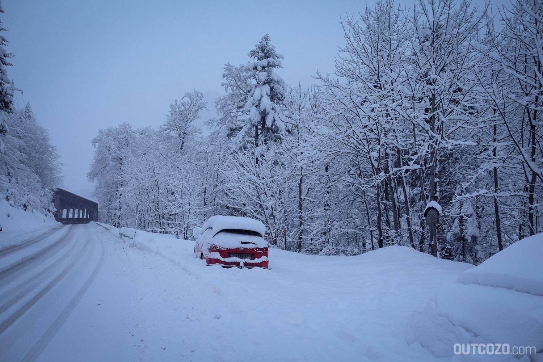Biberacher Hütte Parkplatz Landsteg im Winter