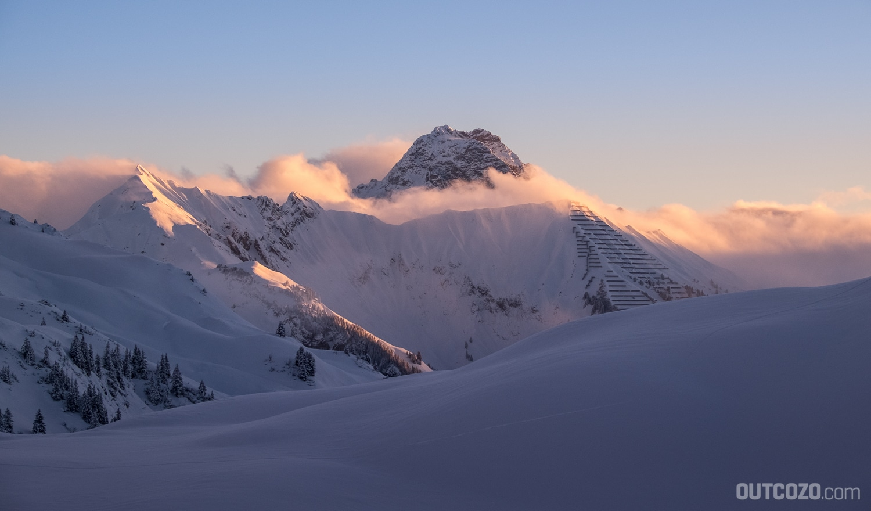 Der Widderstein bei Sonnenaufgang im Winter