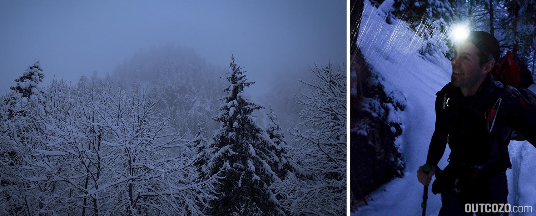 Aufstieg mit Stirnlampe im Winter