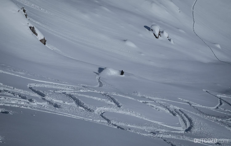 Tiefschneeabfahrt Snowboard