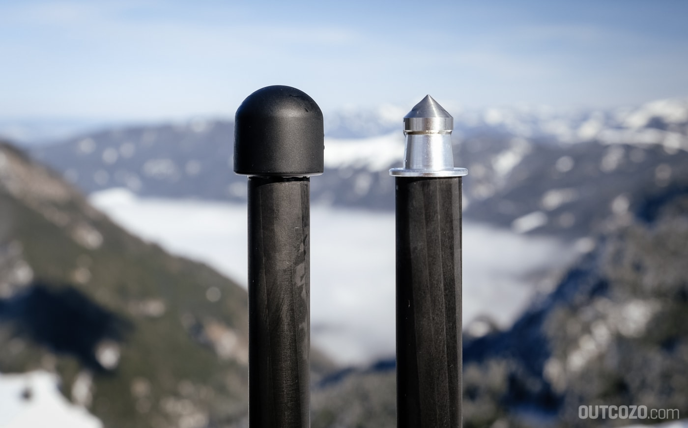 Unter den Gumminoppen sitzen beim Rollei C5i Carbon Metall-Spikes