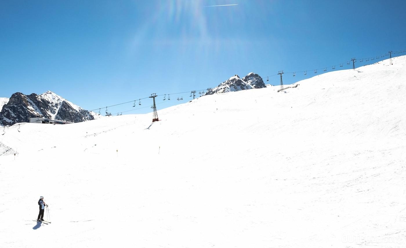Leere Pisten im Skigebiet Silvretta Montafon