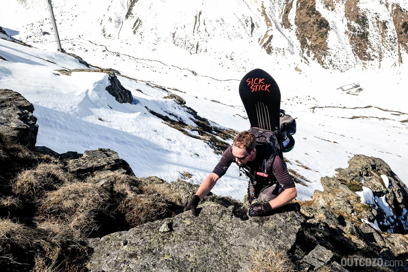 Winterklettersteig Burg Kletterpassage im Zustieg