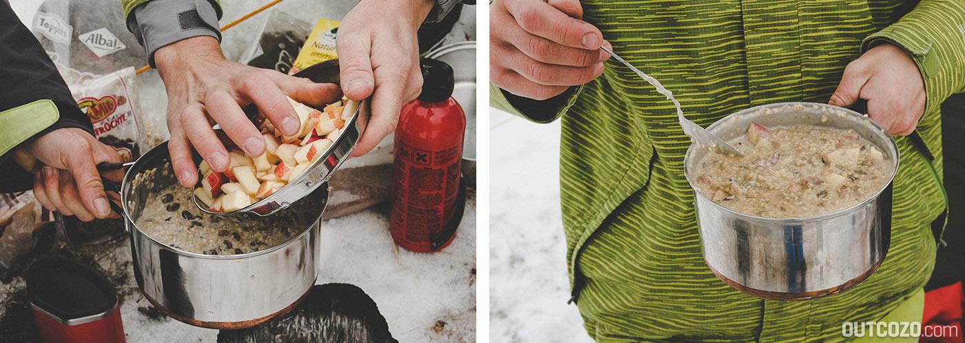 Porridge bzw. Haferflocken mit Äpfeln