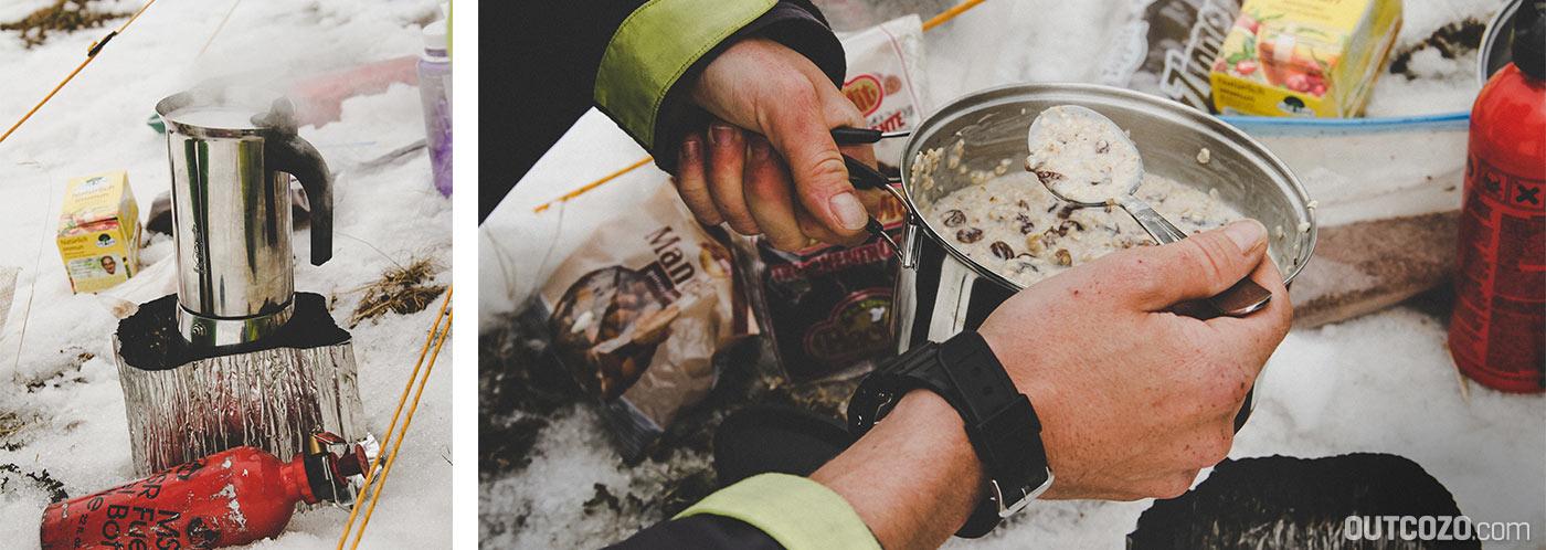 Kaffee und Haferflocken am Campingkocher