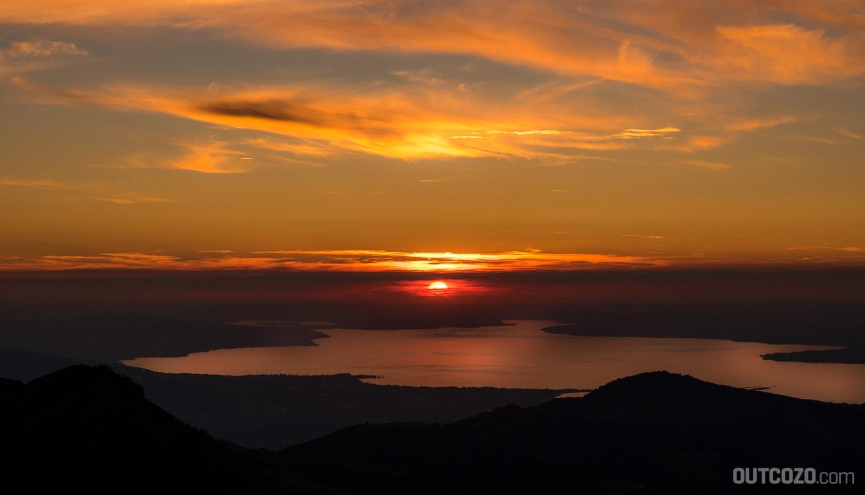 Bodensee Sonnenuntergang von der Kanisfluh aus