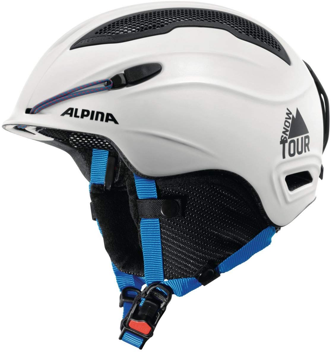 ALPINA Erwachsene Snow Tour Skihelm, White-Blue matt, 55-59 cm