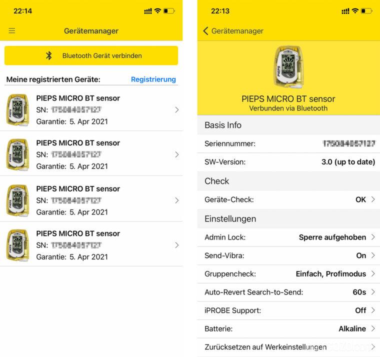 Pieps App Flottenmanager und Gerätemanager